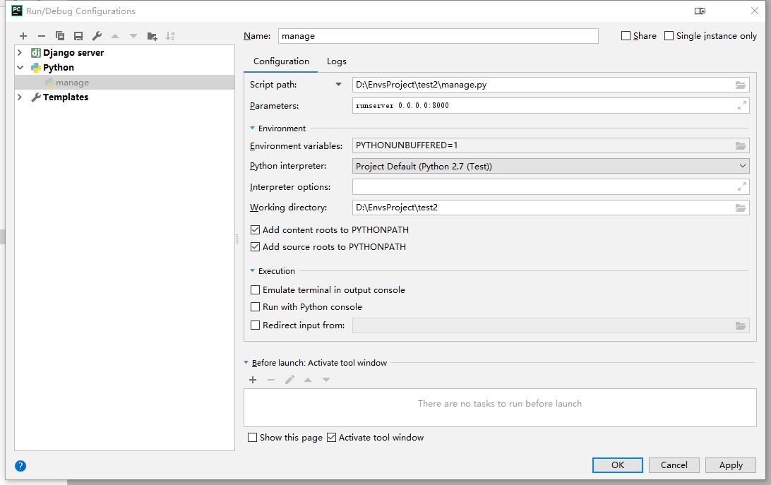 Windows10配置Python虚拟环境和Django项目